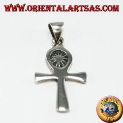 Pendentif en argent égyptien croix ankh (clé de la vie) avec le soleil