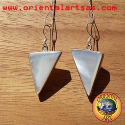 Silver earrings with triangular mother of pearl