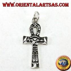 Ciondolo in argento croce ankh occhio di horus e con geroglifici