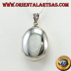 Rounded oval smooth silver photo frame pendant (27 * 22)