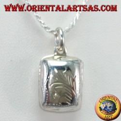 Ciondolo in argento Portafoto rettangolare con intagliato