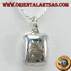 Silver pendant. Rectangular picture frame with carved