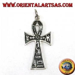 Silver pendant ankh cross (key of life) with hieroglyphs