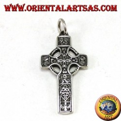 Silver pendant, Celtic cross with 4 central tyron knots