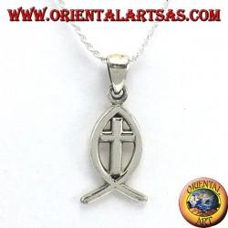 Ichthys colgante de plata símbolo del cristianismo