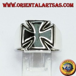 Silver ring with Maltese cross and synthetic onyx