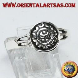 Anillo de plata con sol maya