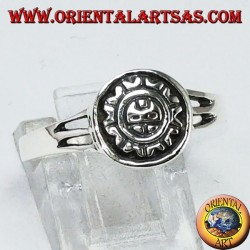 Silver ring with Maya sun