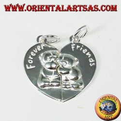 Silver pendant, divisible heart (BEST FRIENDS)