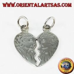 Ciondolo in argento cuore che si divide inciso la testa di lui e lei
