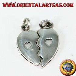 Pendentif en argent, coeur divisé avec un coeur à l'intérieur