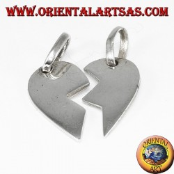 Silver pendant, heart divided into two
