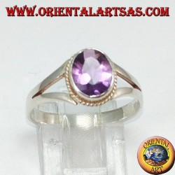 Silver ring with natural amethyst (small)