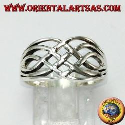Anello in argento intrecciato largo celtico