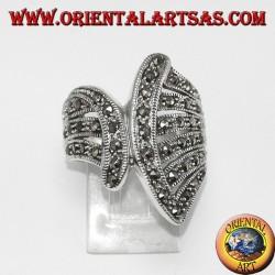 Серебряное кольцо с марказитом (веерообразная)