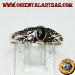 Silberring mit Onyx, klein mit Verzierungen