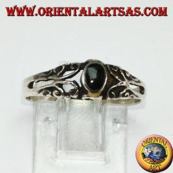 Silver ring with onyx, small with decorations