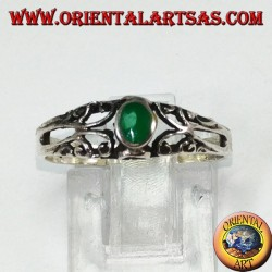 Silver ring with green agate, small with decorations