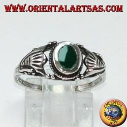 Серебряное кольцо с зеленым агатом, маленькое