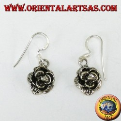 Silver pendant earrings in the shape of roses