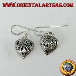 Pendientes colgantes de plata en forma de corazón perforado de doble cara