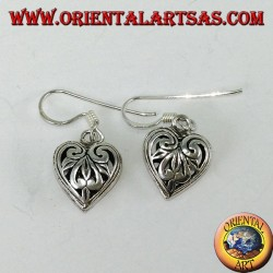 Silver pendant earrings in the shape of a double-sided perforated heart