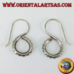 Handmade Karen tribal carved S silver earrings