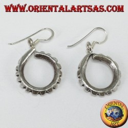 Handmade Karen tribal carved silver pendant earrings