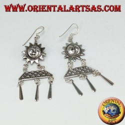 Silver pendant earrings, sun with pendants