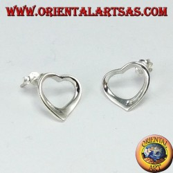 Silver lobe earrings with a heart profile