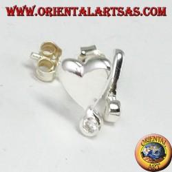 Orecchini da lobo in argento con cuore con un zircone in punta