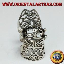 Anello Armatura medievale traforato in argento