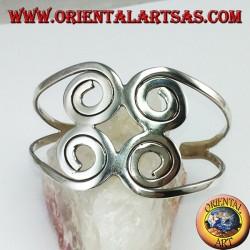 Bracciale rigido in argento 925 con quattro spirali fatto a mano
