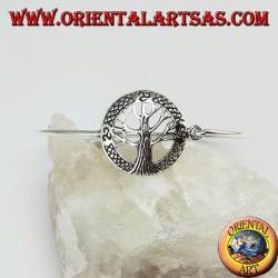 Жесткий браслет в серебре 925 с деревом жизни и трискелем