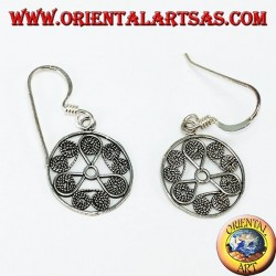 Silver pendant earrings in round shape with a filigree finish