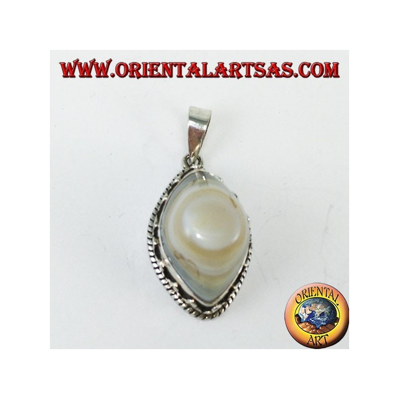 Shiva's eye pendant with a high silver setting