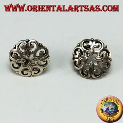 Lobe earrings in pierced 925 silver, baroque style