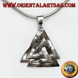Valknut silver pendant or Odin knot