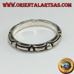 Ring in silver 925, tribal with alternate ball engraving