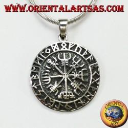 Ciondolo d'argento aegishjalmur e vegvisir con rune celtiche (grande)
