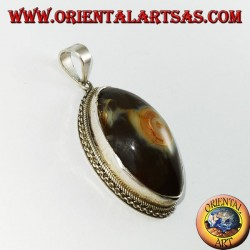 Shiva's eye pendant with a silver set
