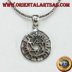 Ciondolo in argento con stella di Davide nel sole