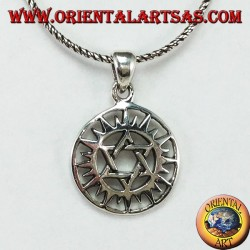 Silver pendant with a star of David in the sun