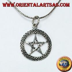Ciondolo in argento a pentacolo, stella nel cerchio intrecciato