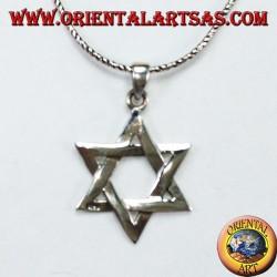 Silberner Anhänger mit einem Davidstern, einem sechszackigen geflochtenen Stern