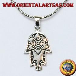 Ciondolo in argento mano di Fatima Hamsa o Khamsa con stella di Davide