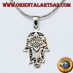 Silver pendant hand of Fatima Hamsa or Khamsa with Star of David