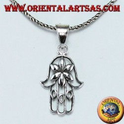 Silver pendant hand of Fatima Hamsa or Khamsa with flower of love