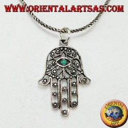 Fatima Hamsa hand pendant in silver with turquoise eye