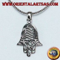 Hand of Fatima hand of Miriam Hamsa with pendant in pierced silver